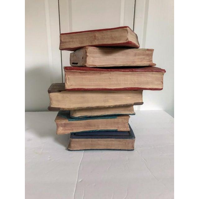 Papier Mache Books, Set of 7 For Sale - Image 4 of 5
