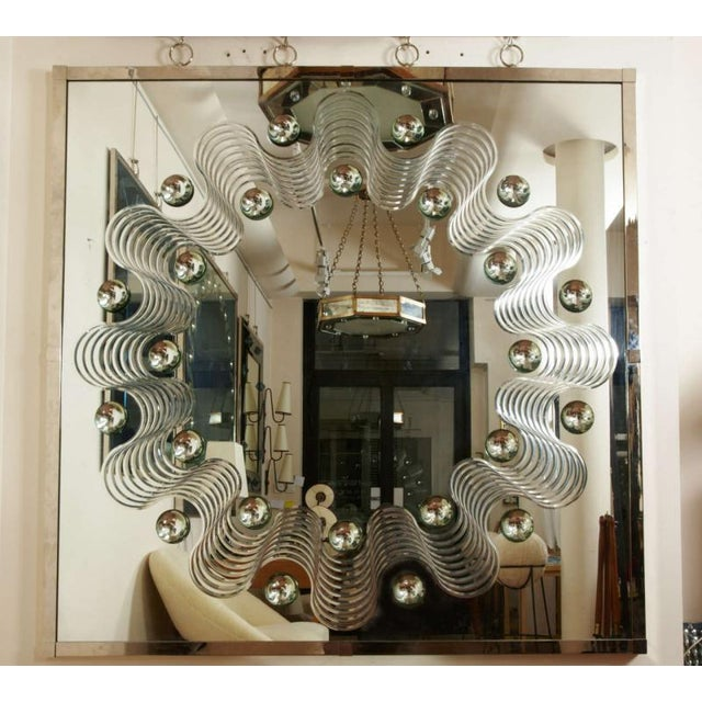 André HayatSpectacular Large Bubble Mirror With Engraved Wave Design For Sale - Image 6 of 7