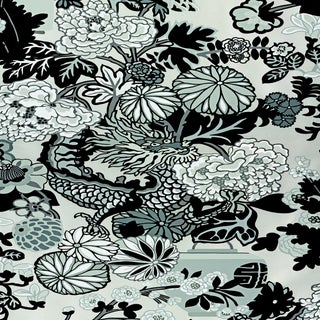 Sample - Schumacher Chiang Mai Dragon Wallpaper in Smoke For Sale