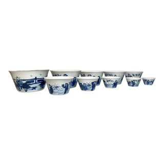 Antique Set of 10 Chinese Hand Painted Cups For Sale