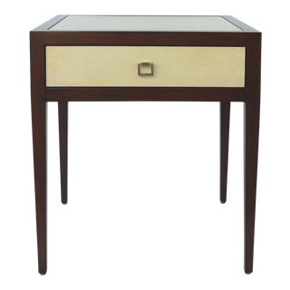 Williams & Sonoma Home Mahogany & Parchment Side Table For Sale