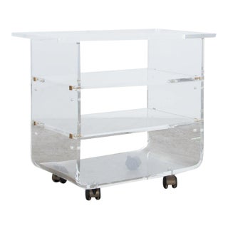 1970s French Acrylic Rolling Cart For Sale