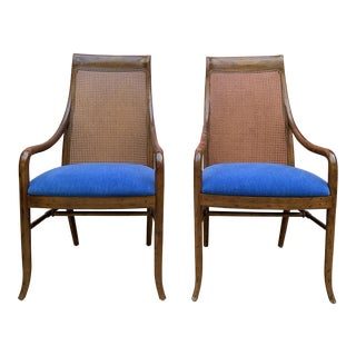 Vintage Baker Cane Back Hostess Chairs - Pair For Sale