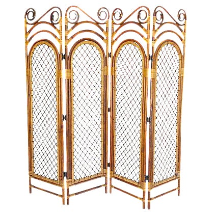 Bamboo Four Panel Room Screen For Sale