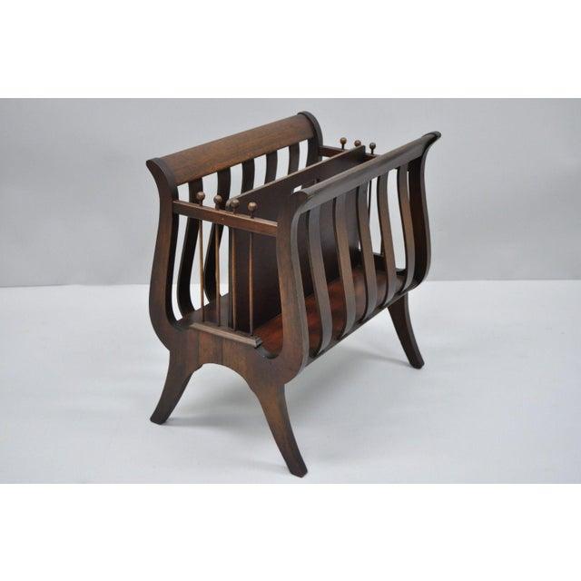 Antique Ferguson Mahogany Lyre Harp Form Magazine Rack Canterbury Stand For Sale - Image 12 of 12