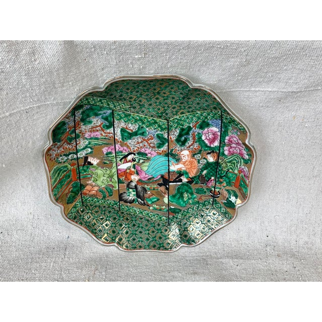 Asian Vintage Chinoiserie Decorative Plate For Sale - Image 3 of 10