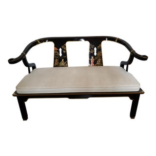 Vintage 1970's Century Furniture Ming Style Lacquered Settee For Sale