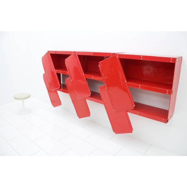 1970s Rare Otto Zapf Red Plastic Shelf System, Germany 1971 InDesign For Sale - Image 5 of 9