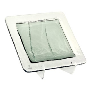 Large Vetri Murano Square Glass Platter With Green Center For Sale