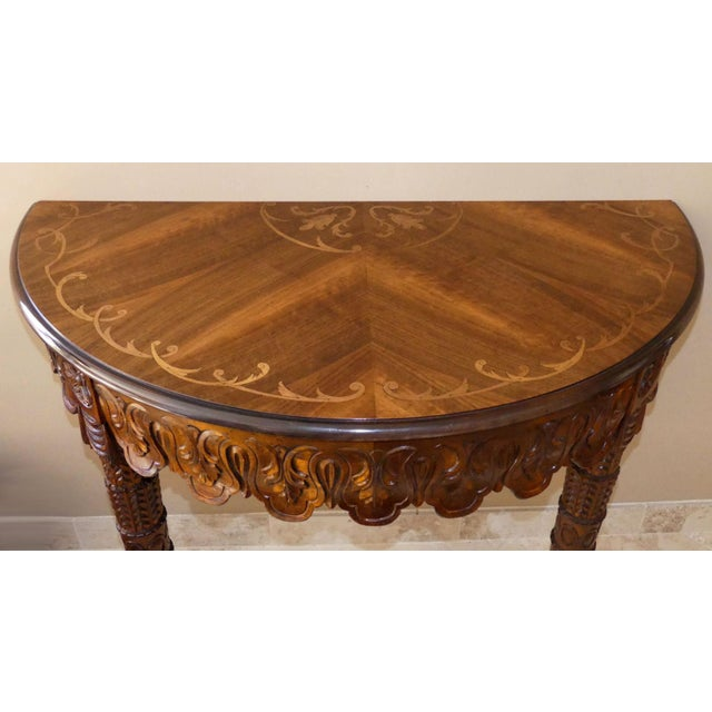Brown Italian Hand Carved Inlaid Wood Demilune Console Table For Sale - Image 8 of 13