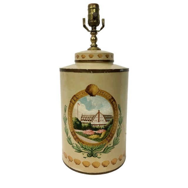 Tea Caddy Lamp With Hand Painted Hotel Landscape Design For Sale - Image 4 of 4