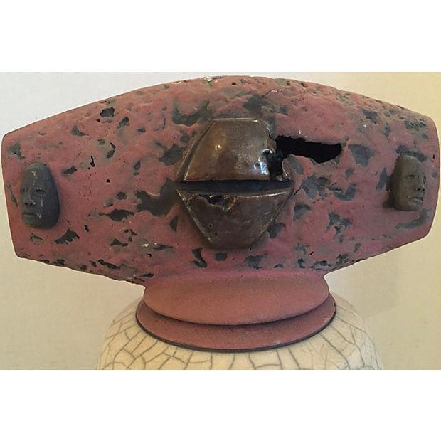 Signed Artistic Pottery Vase with Lid For Sale - Image 5 of 8