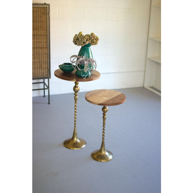 Traditional Mid-Century Modern Sheesham Wood Brass Side Table For Sale - Image 3 of 12