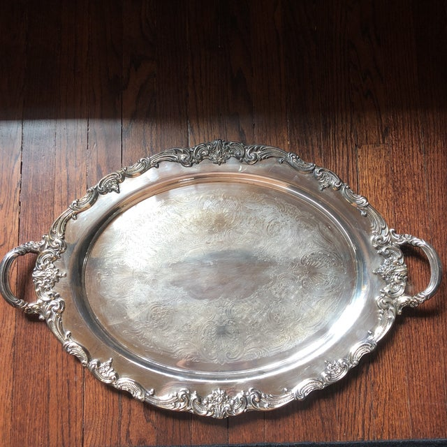 Reed & Barton El Greco Large Silverplated Serving Waiter Tray For Sale - Image 13 of 13