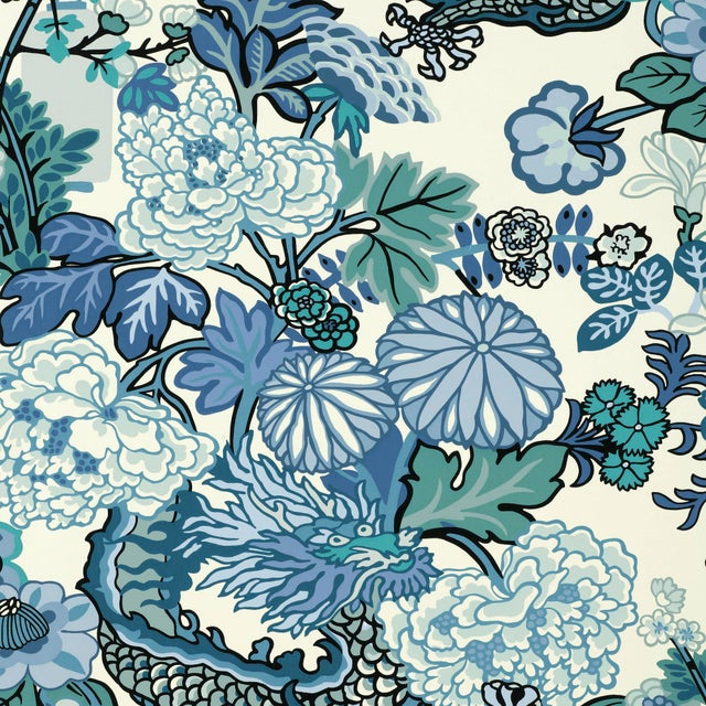 Art Deco Sample - Schumacher Chiang Mai Dragon Wallpaper in China Blue For Sale - Image 3 of 3