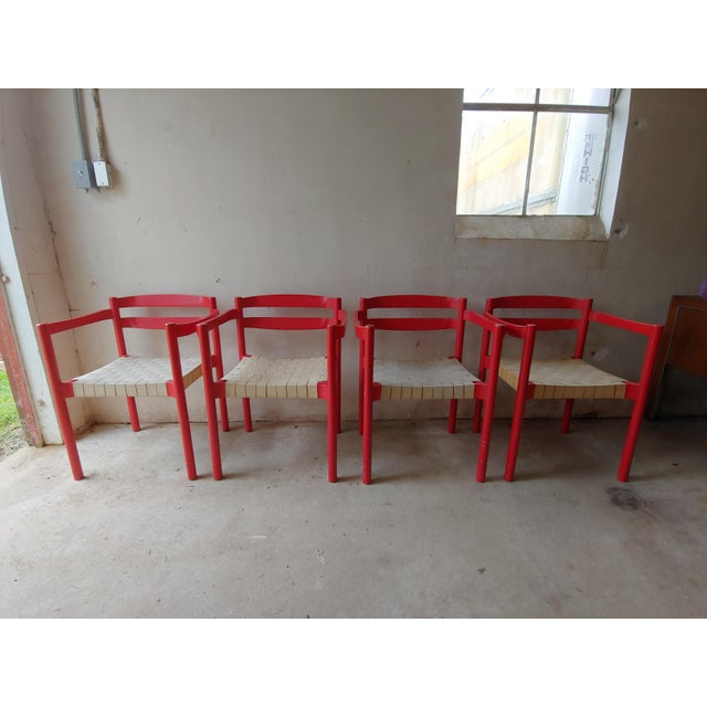 1980s Danish Modern Niels Jorgen Haugesen Red Dining Chairs - Set of 4 For Sale - Image 13 of 13