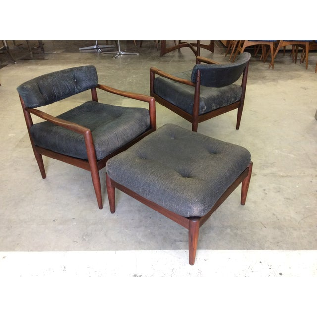 Adrian Pearsall for Craft Lounge Chairs & Ottoman For Sale - Image 7 of 11