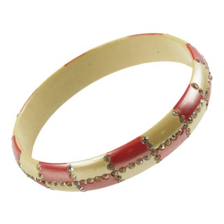 Celluloid Bracelet Bangle Geometric Sparkled Rhinestones Red & Nacre For Sale