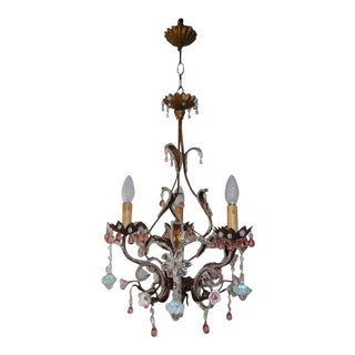 French Pink Drops and Flowers Beaded Tole Chandelier For Sale