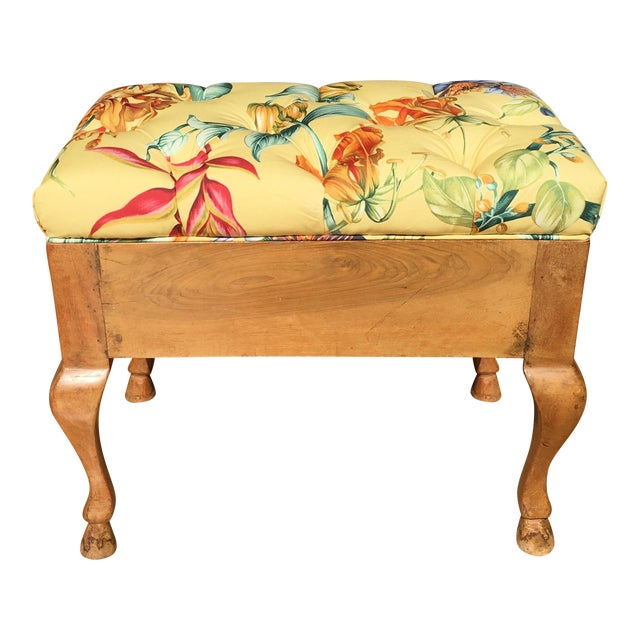 Antique Biedermeier Footstool With Yellow Floral Seat - Image 1 of 6