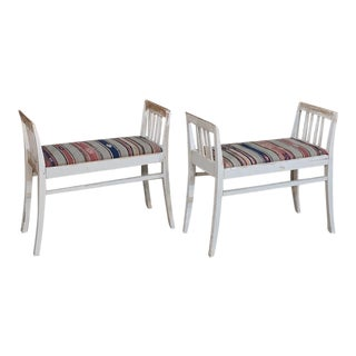 Pair 19th Century Antique Swedish White Painted Stools With Ikot Upholstery For Sale