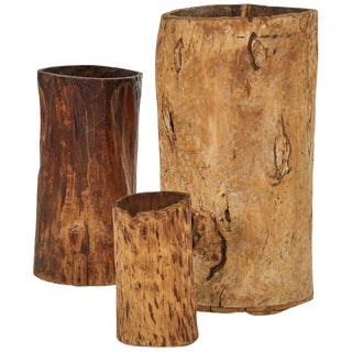 Tree Trunk Sculptures With Up-Lights - Set of 3 For Sale