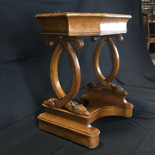Antique French Hand Carved Sheepshead Walnut Planter Table For Sale In Portland, ME - Image 6 of 11