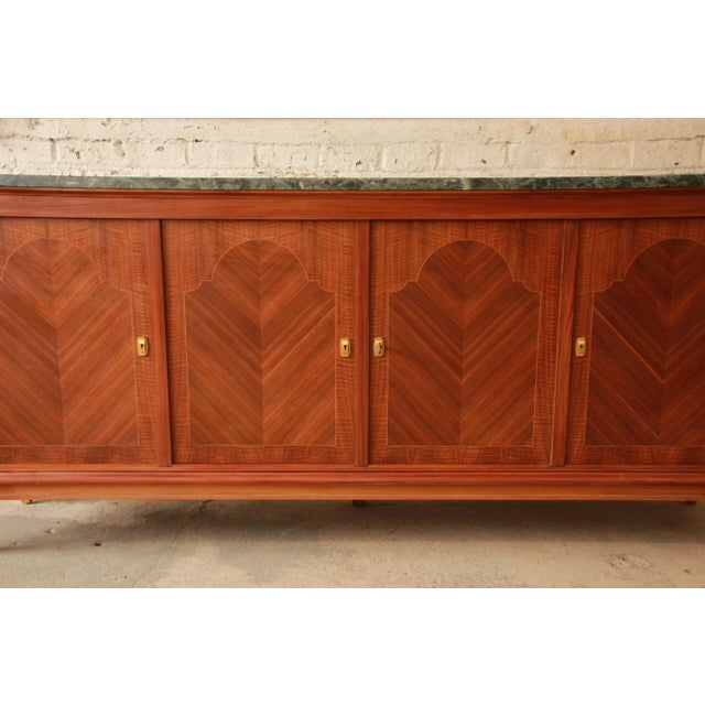 1940's French Mahogany & Marble Sideboard For Sale - Image 9 of 11