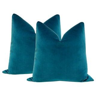 "Contemporary 22"" Baltic Blue Velvet Pillows - a Pair For Sale"