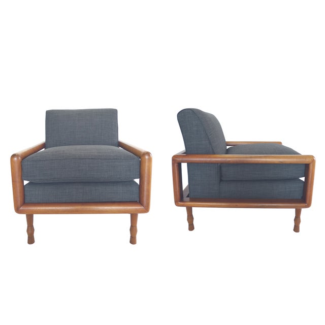 In the Style of T.H. Robsjohn-Gibbings Mid-Century Sofa & Armchair Set - Image 7 of 9