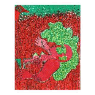 Dans l'infinie verticalite de l'herbe la femme, Lithograph by Corneille