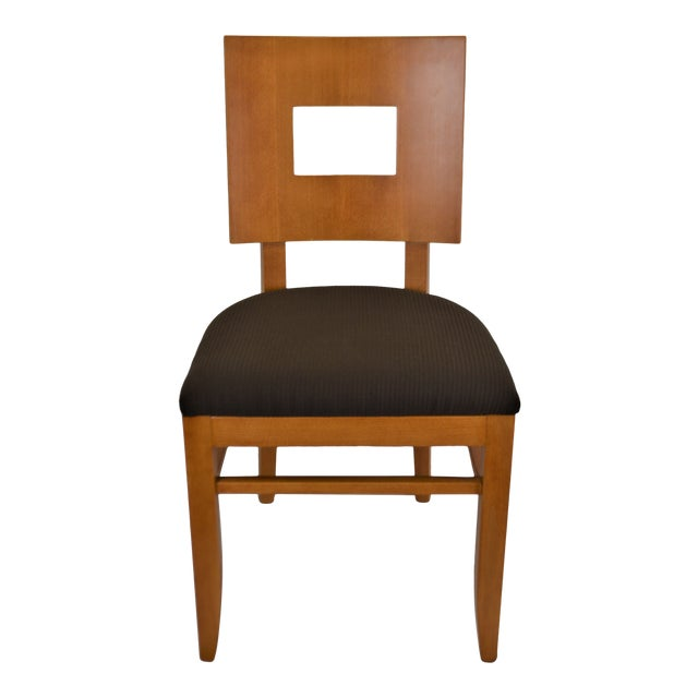 Contemporary Square Back Wooden Dining Chair For Sale