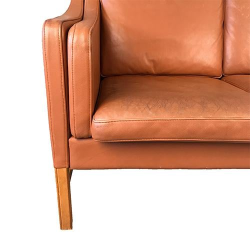 Danish Modern Vintage Danish Leather Sofa For Sale - Image 3 of 8