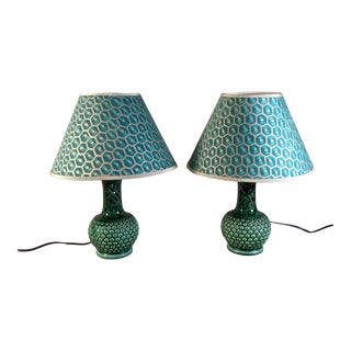 Vintage 1960s Green Ceramic Lamps With Custom Fortuny Shades - a Pair For Sale