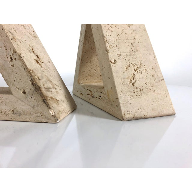 Boho Chic 1960s Fratelli Mannelli for Raymor Triangle Travertine Bookends - a Pair For Sale - Image 3 of 10
