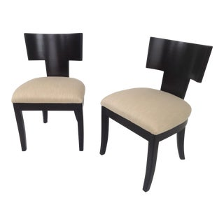 Klismos Style Modern Chenille Upholstered Chairs - a Pair