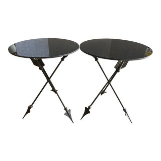 Campaign Arrow Brushed Steel Side Tables With Mirrored Top, A-Pair For Sale