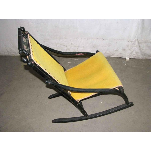 Yellow Victorian Rocker With Studded Yellow Upholstery For Sale - Image 8 of 9