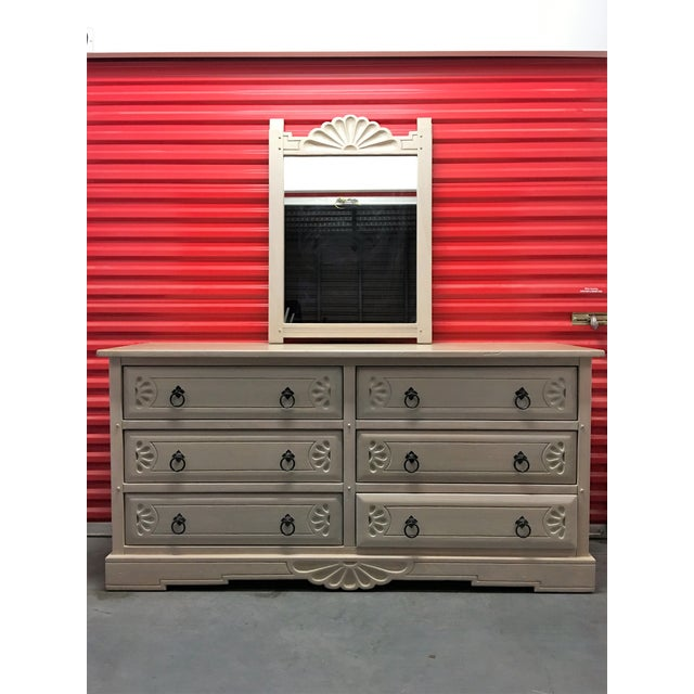 Southwest Style Solid Wood Dresser & Mirror - Image 2 of 9