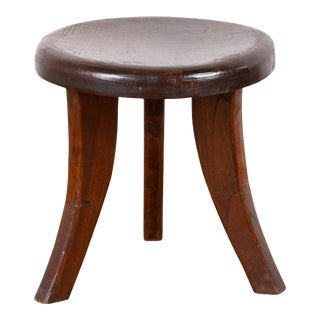 Vintage Dutch Colonial Rustic Three-Legged Wooden Stool with Saber Legs For Sale