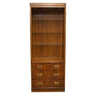 "Drexel Heritage Dynasty Collection Campaign Style 30"" Bookcase Wall Unit 017-716 For Sale"
