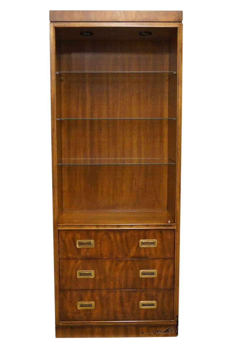 Drexel Heritage Dynasty Collection Campaign Style 30 Bookcase Wall Unit 017 716