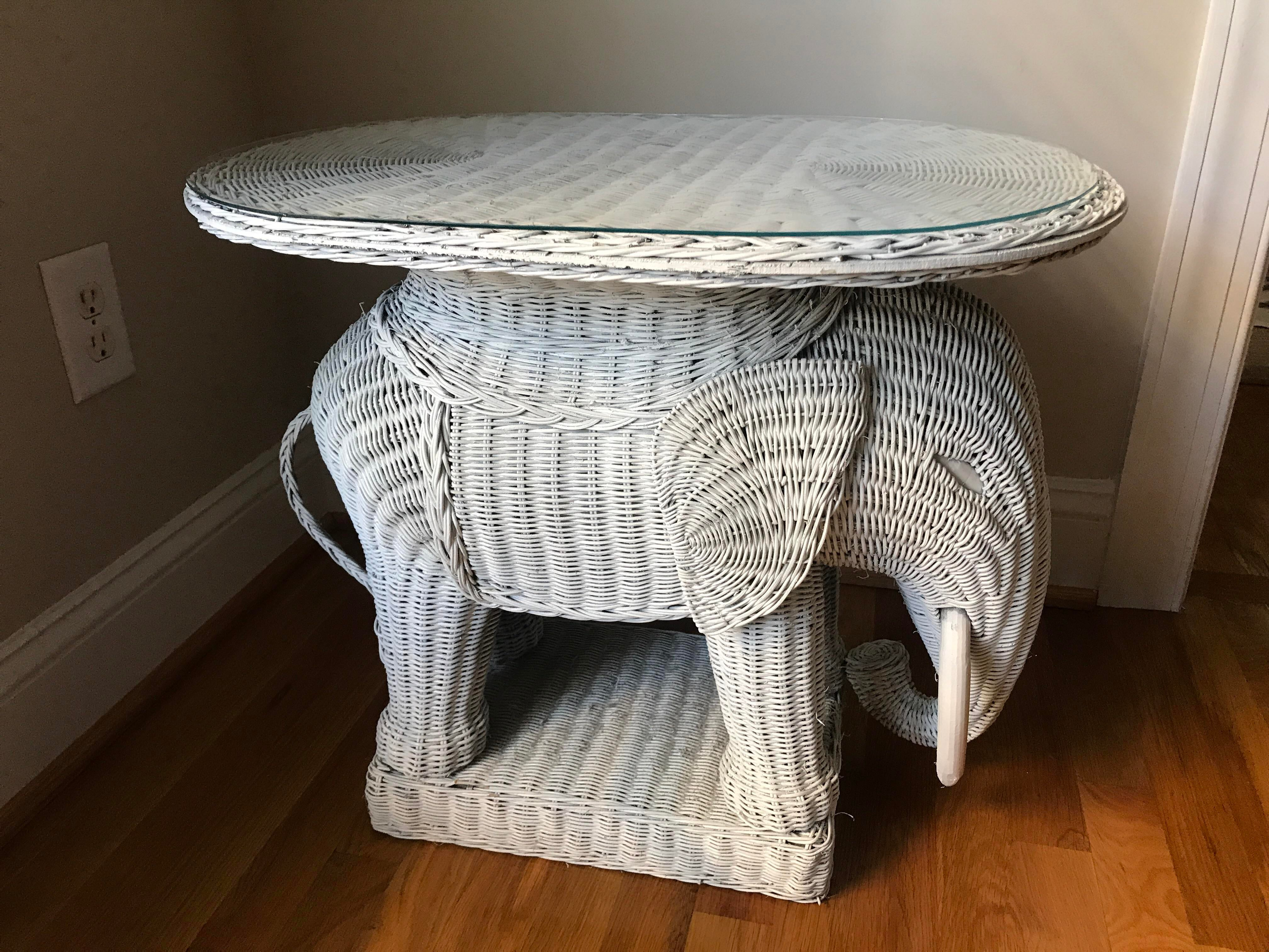 Vintage Wicker Elephant Side Table   Image 5 Of 5