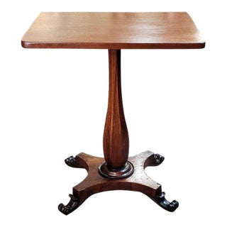 Victorian Mahogany Fluted Pedestal Window Table C.1900 For Sale