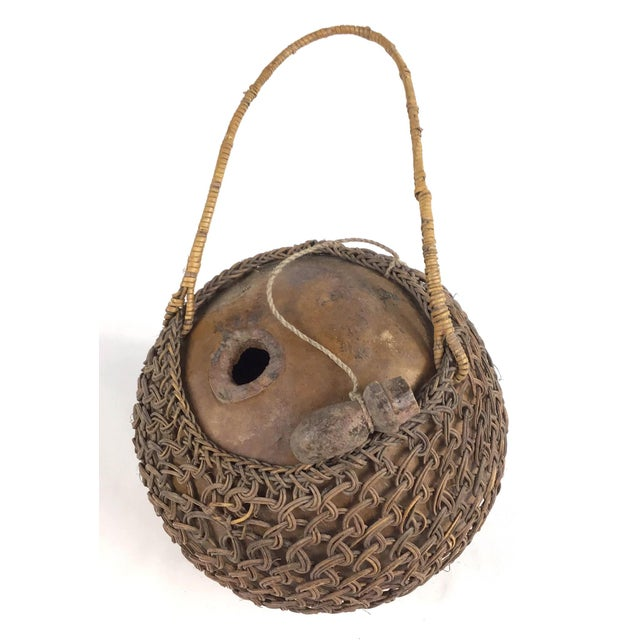 Primitive Javanese Hand Woven Covered Gourd Container For Sale - Image 4 of 11