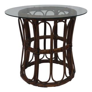 1970s Boho Chic Rattan End Table With Glass Top For Sale