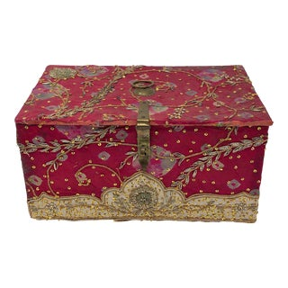 Vintage Red Embroidered Indian Fabric Box For Sale