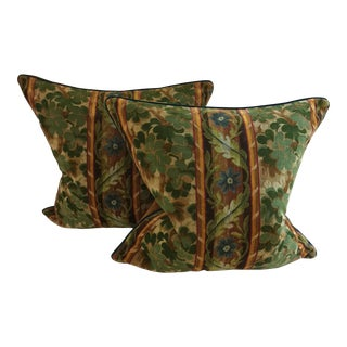 Orange & Green Velvet Floral Pillows - A Pair