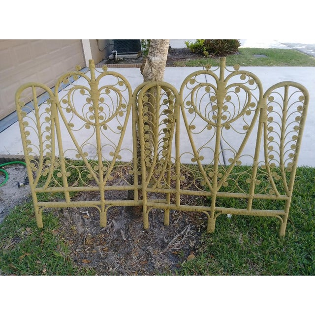 1970s Pair Wicker Palm Beach Regency Peacock Pale Sage Green Twin Headboards For Sale - Image 5 of 7