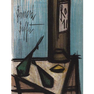 1968 Bernard Buffet Still Life With Bottle Original Lithograph For Sale